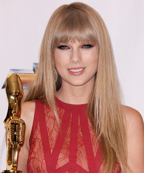 Taylor Swift Long Straight Formal    Hairstyle with Layered Bangs  -  Champagne Blonde Hair Color with Light Blonde Highlights