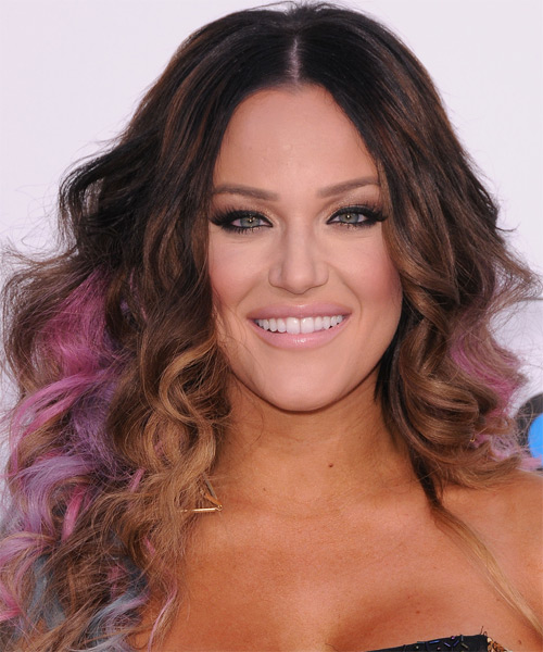 Lacey Schwimmer Long Curly Casual    Hairstyle   -  Caramel Brunette Hair Color with Pink Highlights