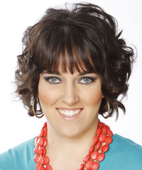 Short Curly Formal    Hairstyle with Layered Bangs  - Dark Mocha Brunette Hair Color