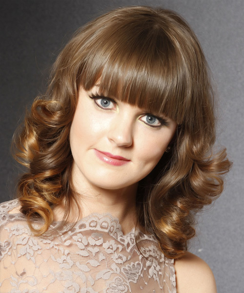 Medium Curly    Caramel Brunette   Hairstyle with Blunt Cut Bangs