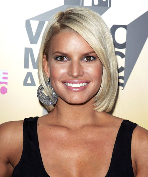 Jessica Simpson Medium Straight Formal  Bob  Hairstyle   - Light Ash Blonde Hair Color