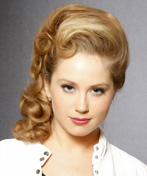 Long Curly Formal   Updo Hairstyle   -  Honey Blonde Hair Color with Light Blonde Highlights