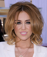 Miley Cyrus Medium Straight Layered  Light Caramel Brunette Bob  Haircut   with  Blonde Highlights