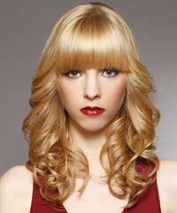 Long Curly Formal    Hairstyle with Blunt Cut Bangs  -  Honey Blonde Hair Color with Light Blonde Highlights