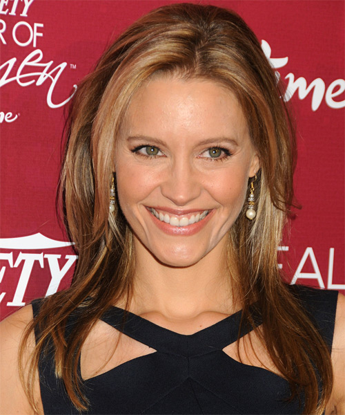 KaDee Strickland Long Straight Casual    Hairstyle   - Dark Caramel Blonde Hair Color with Light Blonde Highlights