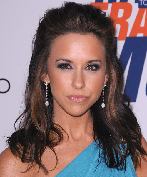 Lacey Chabert  Long Straight Casual   Half Up Hairstyle   - Dark Brunette Hair Color with Dark Blonde Highlights
