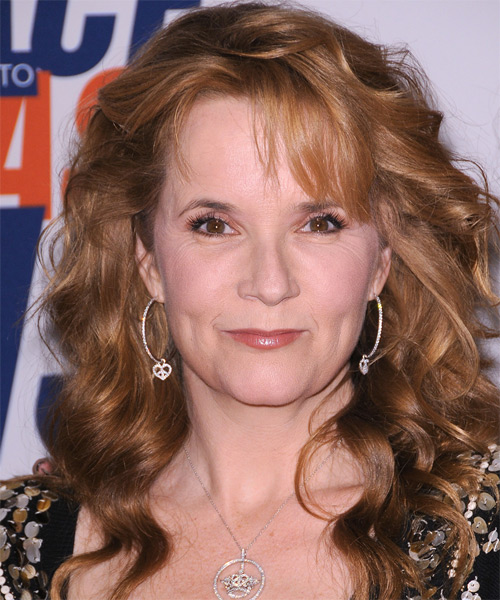 Lea Thompson Long Wavy Formal   Hairstyle with Side Swept Bangs  - Medium Brunette (Caramel)