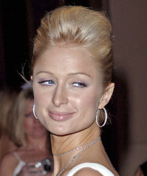 Paris Hilton  Medium Straight Formal   Updo Hairstyle   - Light Strawberry Blonde Hair Color