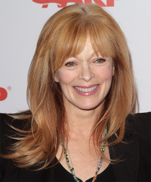 Frances Fisher Long Straight Formal   Hairstyle with Layered Bangs  - Medium Blonde (Copper)