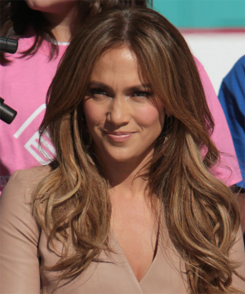 Jennifer Lopez Long Straight Casual    Hairstyle   - Chestnut Hair Color with Light Blonde Highlights