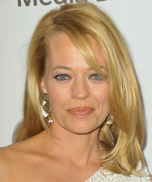 Jeri Ryan Medium Straight Formal   Hairstyle with Side Swept Bangs  - Medium Blonde (Honey)
