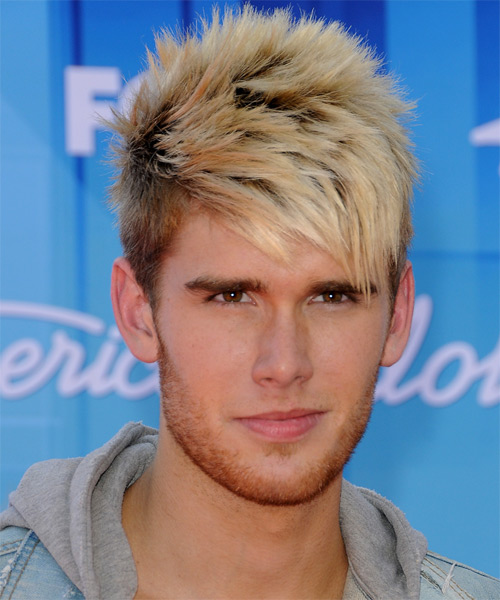 Colton Dixon Short Straight Casual    Hairstyle with Side Swept Bangs  - Light Blonde Hair Color