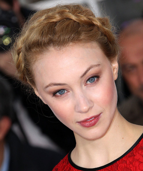 Sarah Gadon  Long Curly Formal  Braided Updo Hairstyle   -  Golden Blonde Hair Color