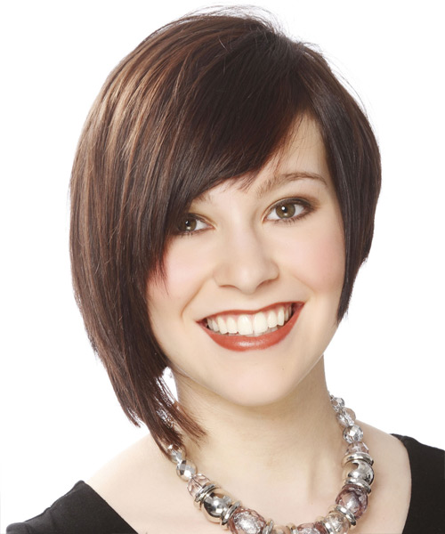Short Straight Casual Layered Bob  Hairstyle with Side Swept Bangs  - Medium Brunette Hair Color