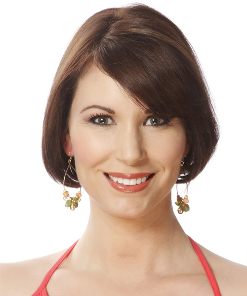Short Straight Formal Bob  Hairstyle with Side Swept Bangs  - Medium Brunette (Chocolate)