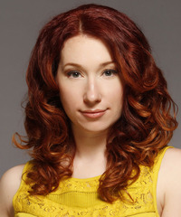 Long Curly Casual    Hairstyle   -  Copper Red Hair Color