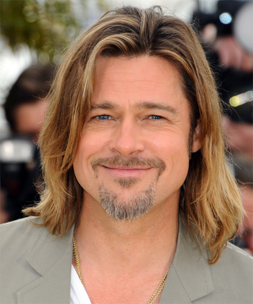 Brad Pitt Long Straight   Light Brunette   Hairstyle   with  Blonde Highlights