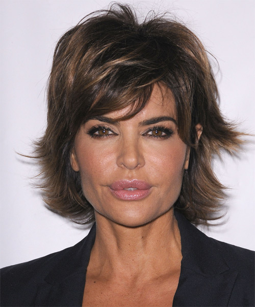 Lisa Rinna Short Straight Casual   Hairstyle with Side Swept Bangs  - Dark Brunette (Ash)