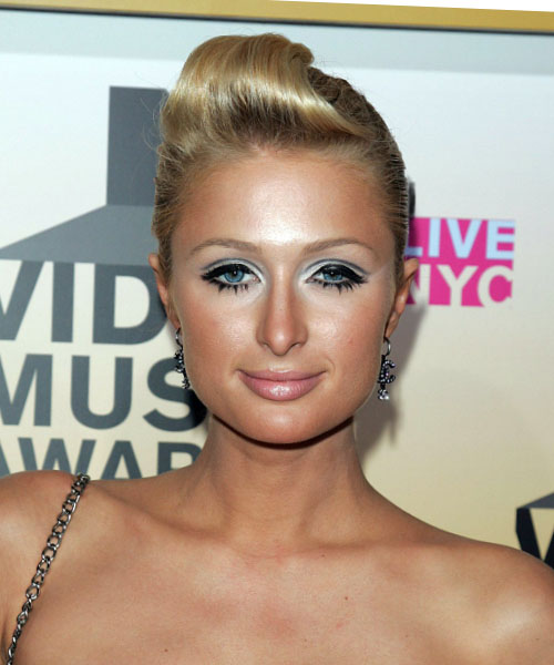Paris Hilton Formal Long Straight Updo Hairstyle