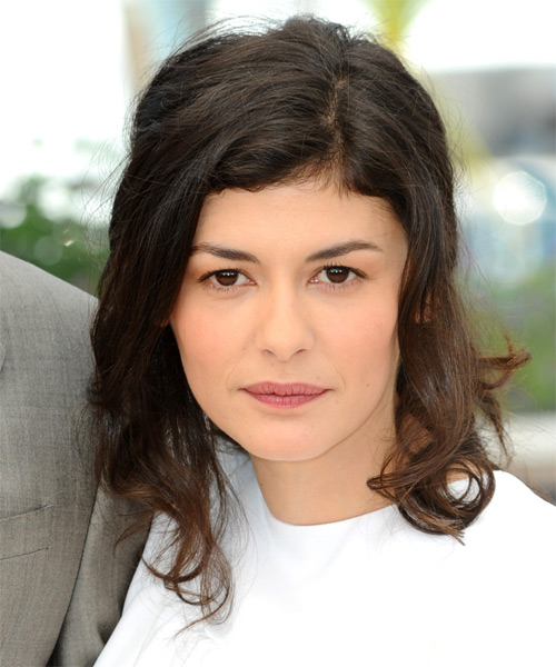 Audrey Tautou Medium Wavy Casual    Hairstyle   -  Brunette Hair Color
