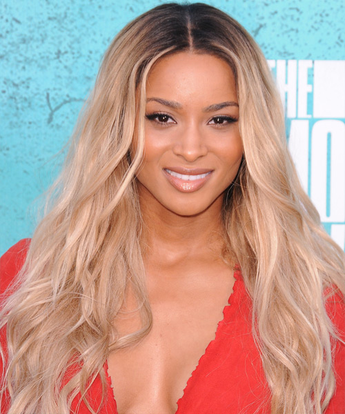 Ciara Long Wavy Light Champagne Ombre Hairstyle