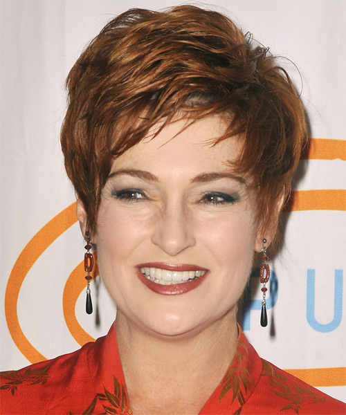 Carolyn Hennesy Short Straight Formal   Hairstyle with Side Swept Bangs  - Medium Brunette (Copper)