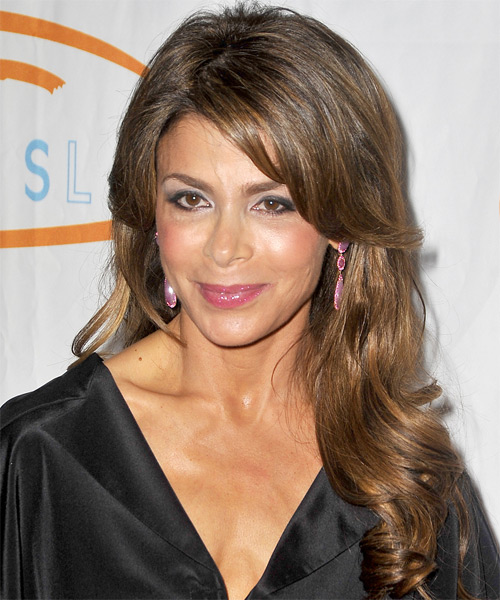 Paula Abdul Long Wavy Formal   Hairstyle with Side Swept Bangs  - Light Brunette (Caramel)