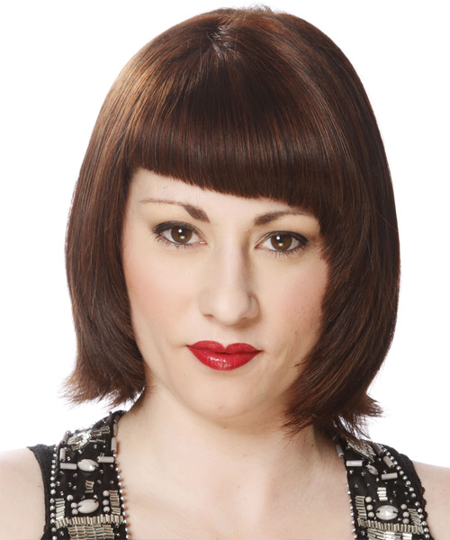Short Straight Formal Layered Bob  Hairstyle with Blunt Cut Bangs  -  Brunette Hair Color