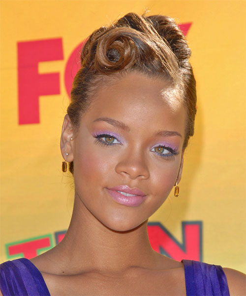 Rihanna Formal Long Straight Updo Hairstyle Light Golden