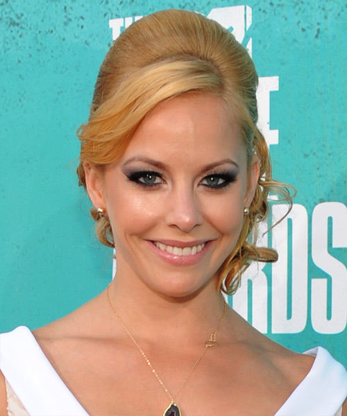 Amy Paffrath  Long Curly    Golden Blonde  Updo  with Side Swept Bangs