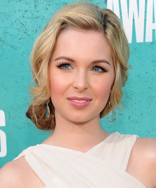 Kirsten Prout Updo Medium Curly Casual  Updo Hairstyle   - Medium Blonde
