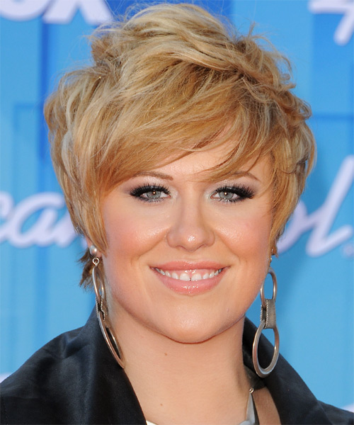Erika Van Pelt Short Straight Formal   Hairstyle with Side Swept Bangs  - Medium Blonde (Golden)