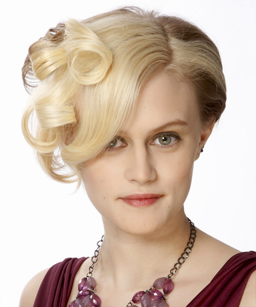 Short Curly Formal   Hairstyle   - Light Blonde