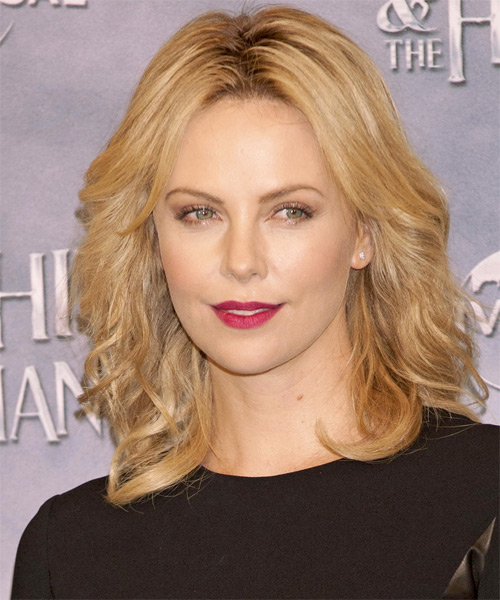 Charlize Theron Medium Wavy Casual   Hairstyle   - Dark Blonde (Honey)