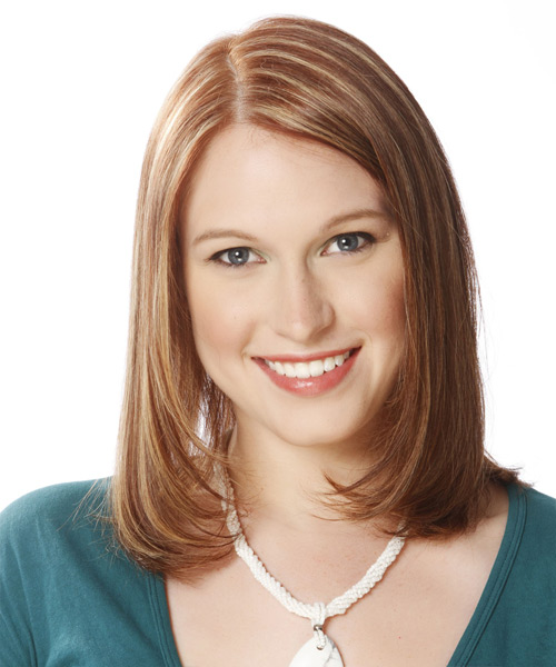 Medium Straight Formal Layered Bob  Hairstyle   -  Brunette Hair Color with Light Blonde Highlights
