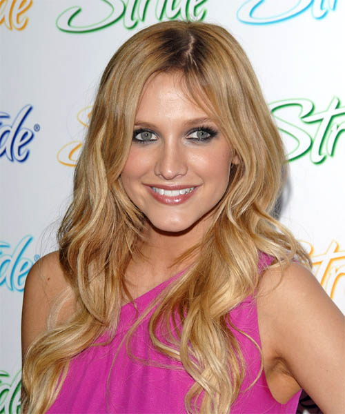 Ashlee Simpson Long Wavy Formal    Hairstyle   - Dark Blonde Hair Color