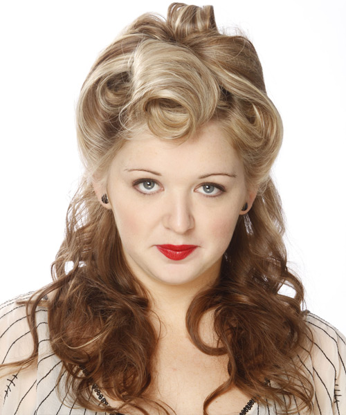 Long Curly Formal   Half Up Hairstyle   -  Champagne Blonde and  Brunette Two-Tone Hair Color with Light Blonde Highlights