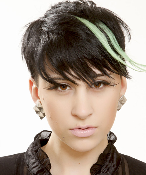 Short Straight Alternative  Emo  Hairstyle with Side Swept Bangs  - Black Ash  Hair Color with Green Highlights