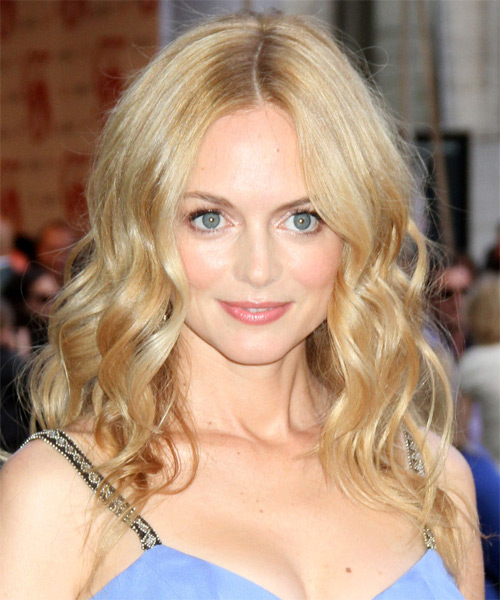 Heather Graham Long Wavy Casual    Hairstyle   - Light Champagne Blonde Hair Color