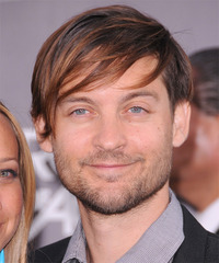Tobey Maguire Medium Straight Casual    Hairstyle with Side Swept Bangs  - Dark Brunette Hair Color with Light Brunette Highlights