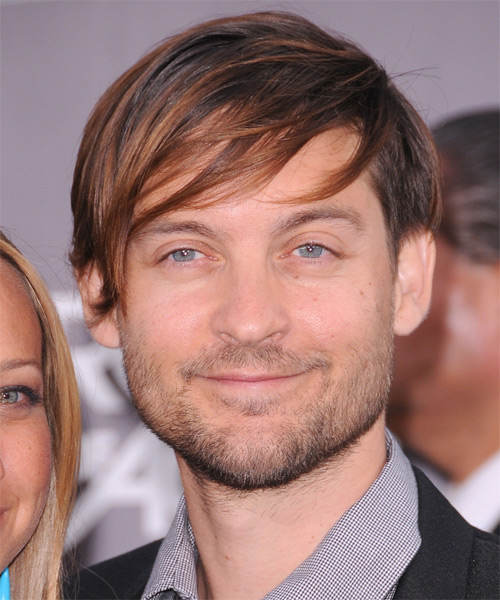 Tobey Maguire Medium Straight   Dark Brunette   Hairstyle with Side Swept Bangs  and Light Brunette Highlights