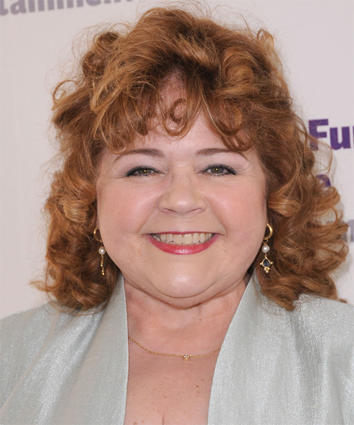 Patrika Darbo  Medium Curly Casual    Hairstyle with Layered Bangs  - Light Caramel Brunette Hair Color