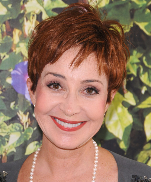 Annie Potts Short Straight Casual    Hairstyle with Side Swept Bangs  -  Copper Red Hair Color