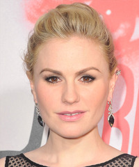 Anna Paquin  Long Straight Casual  Braided Updo Hairstyle   -  Golden Blonde Hair Color with Light Blonde Highlights