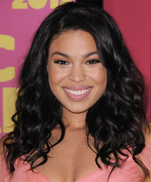 Jordin Sparks Long Wavy Casual   Hairstyle   - Black