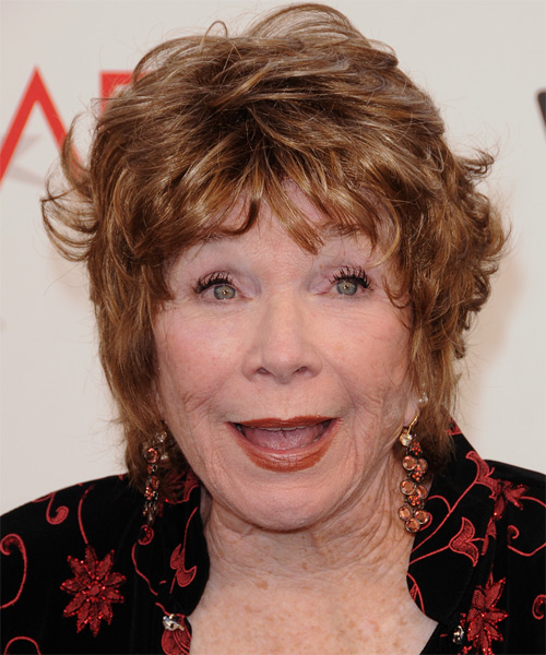 Shirley MacLaine Short Straight Casual    Hairstyle with Layered Bangs  - Light Copper Brunette Hair Color