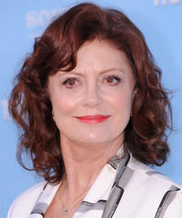 Susan Sarandon Medium Wavy Casual    Hairstyle with Side Swept Bangs  - Dark Auburn Red Hair Color