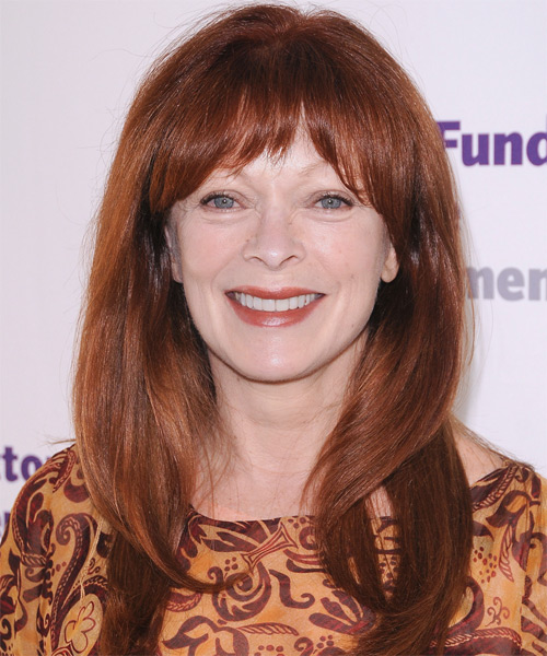 Frances Fisher Long Straight Formal   Hairstyle with Layered Bangs  - Dark Red (Copper)