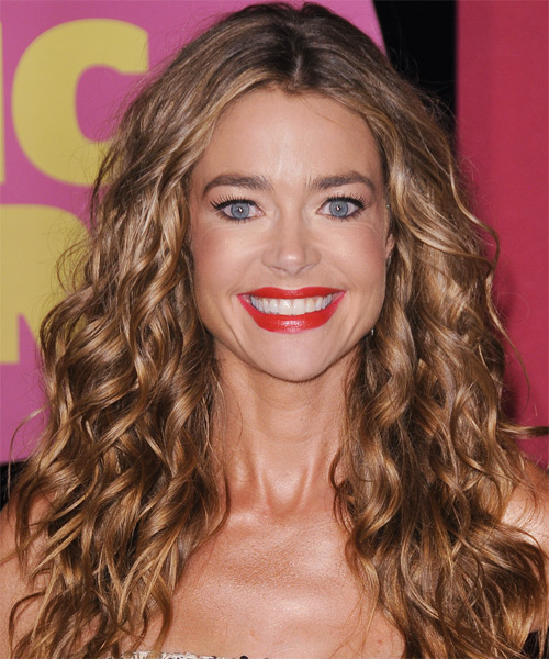 Denise Richards Long Curly Casual    Hairstyle   - Light Brunette Hair Color with Dark Blonde Highlights