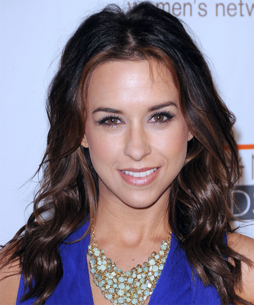 Lacey Chabert Long Wavy   Dark Mocha Brunette   Hairstyle   with  Brunette Highlights
